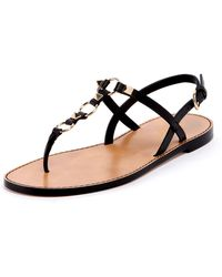 96e53eecab9 Lyst - Valentino Rockstud Ankle-Wrap Thong Sandal in Black