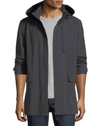 Z Zegna - Anthracite Hooded Raincoat - Lyst