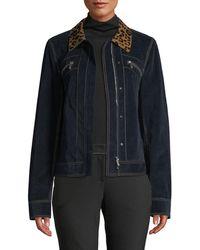 Lafayette 148 New York - Kesha Leopard-collar Zip-front Primo Denim Jacket - Lyst
