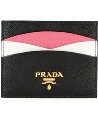 Prada - Saffiano Colorblock Credit Card Case - Lyst