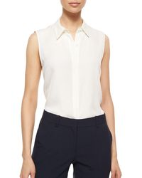 Theory - Tanelis Sleeveless Silk Blouse - Lyst