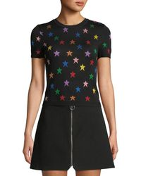 Alice + Olivia - Short-sleeve Star Crewneck Tee - Lyst