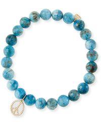 Sydney Evan - 14k Apatite & Diamond Peace Sign Bracelet - Lyst