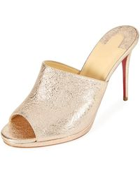Christian Louboutin - Pigamule 100mm Metallic Leather Red Sole Slide Sandal - Lyst