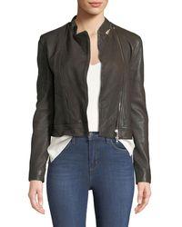 L'Agence Devon Leather Moto Jacket - Brown