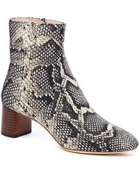 efb5176c217 Gema Snake-print Leather Block-heel Booties