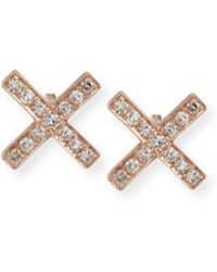 EF Collection - Diamond X Stud Earring Pair - Lyst