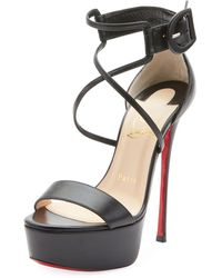 4437fe00dc Lyst - Christian Louboutin Choca 55mm Calf Leather Red Sole Sandal