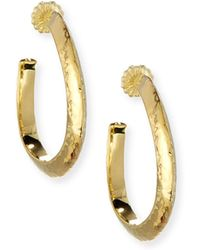 Ippolita - 18k Classico Medium Hammered Wavy Hoop Earrings - Lyst