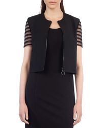 Akris Punto - Striped Tulle-sleeve Cropped Jacket - Lyst