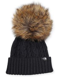 Sacai | The North Face® Cable Knit Hat With Faux-fur Pompom | Lyst