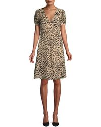 Alice + Olivia - Rosette Leopard-print Wrap Dress - Lyst