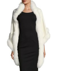 Sofia Cashmere - Cashmere Triangle Fox Trim Wrap - Lyst