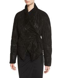 Urban Zen - Padded Suede Wrap-front Jacket - Lyst