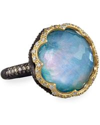 Armenta - Old World Scalloped Peruvian Opal Triplet Ring With Diamonds - Lyst