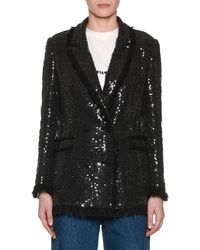 MSGM - Sequin Double-breasted Blazer W/ Fringe - Lyst