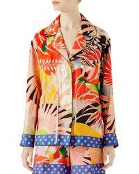 Gucci - Tropical Bird-print Pajama Shirt - Lyst