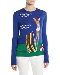 Ralph Lauren Collection - Long-sleeve Crewneck Silk Pullover With Intarsia - Lyst