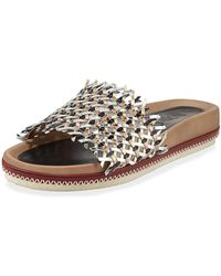 Rodo - Woven Leather Slide Sandals - Lyst