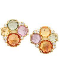 Jamie Wolf - 18k Multicolor Sapphire & Diamond Stud Earrings - Lyst