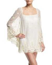 Miguelina - Nicolette Sheer Lace Coverup Dress - Lyst