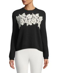 Valentino - Long-sleeve Crewneck Wool-cashmere Sweater With Lace Inserts - Lyst
