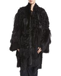 Urban Zen - Carpet Shearling Fur Kimono Coat - Lyst