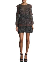 IRO - Trillie Tiered Printed Chiffon Mini Dress - Lyst