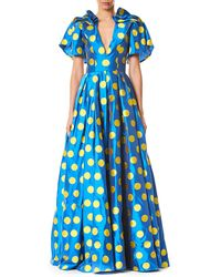 Carolina Herrera - Polka Dot Puff Sleeve Gown - Lyst