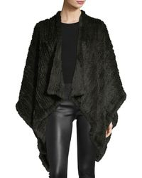 Adrienne Landau - Knit Fur Cape - Lyst