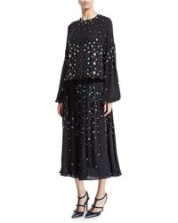 Valentino - Long-sleeve Floral Embroidered Blouson Dress - Lyst
