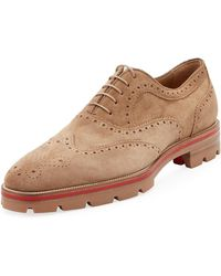 9adbc2000c8 Christian Louboutin - Men s Charlie Me Suede Lace-up Brogue Shoe - Lyst