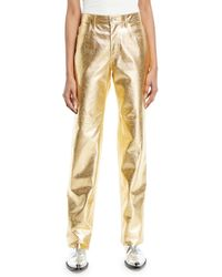 CALVIN KLEIN 205W39NYC - Metallic Leather Straight-leg Pants - Lyst