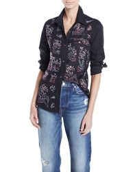 Libertine - Chinoiserie Crystal Embellished Collared Top - Lyst