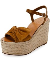 Valentino - Tropical Bow Espadrille Wedge Sandal - Lyst