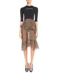 Balenciaga - Leopard-print Ruffled Skirt With Logo Sport Top Dress - Lyst