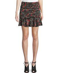 Veronica Beard - Noon Floral-print Ruched Silk Skirt - Lyst