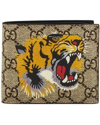 aa0377ab3fc4 Gucci Angry Cat Print Gg Supreme Wallet in Natural for Men - Lyst