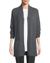 Lafayette 148 New York - Shawl-collar Zip-front Cashmere Cardigan - Lyst