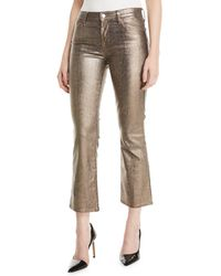 J Brand Selena Mid-rise Boot-cut Metallic Animal-print Jeans