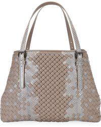 Bottega Veneta - Ayers And Leather Stripe Tote Bag - Lyst