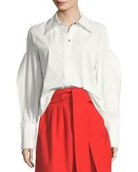 Rejina Pyo - Tate Button-front Pouf-sleeves Poplin Shirt - Lyst