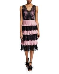 Marchesa notte - V-neck Sleeveless Tiered Scallop Lace & Pleated Lame Cocktail Dress - Lyst