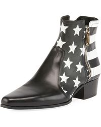 Balmain - Stars And Stripes Leather Boot - Lyst