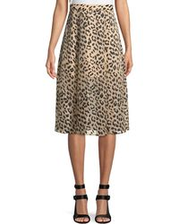 Alice + Olivia - Athena Cheetah-print Midi Skirt W/ Slits - Lyst