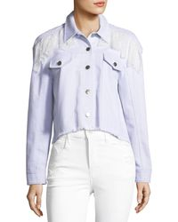 Cinq À Sept   Ismay Button-front Cropped Denim Jacket With Lace   Lyst