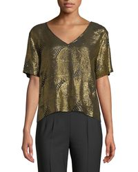 Sally Lapointe - V-neck Short-sleeve Boxy Sequined Tee - Lyst