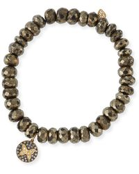 Sydney Evan - Champagne Pyrite Beaded Bracelet With Diamond Butterfly Medallion Charm - Lyst