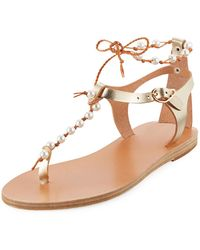 Ancient Greek Sandals - Chrysso Pearly Beaded Flat Thong Sandal - Lyst