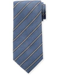 Isaia - Diagonal Striped Silk Tie - Lyst
